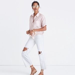 Madewell Short Sleeve Striped Button Down Pink